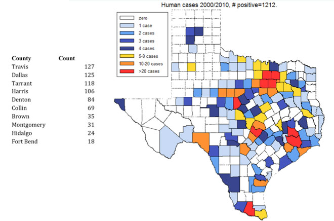 Lymetexas2010 Distribution Of Lyme Disease